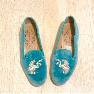 Stubbs & Wootton Turquoise Loafers Size 8.5